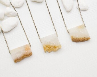 Mini Citrine Slice Necklace, Raw Citrine Necklace, Citrine Crystal Necklace, Citrine Jewelry, Raw Crystal Necklace, Layering Necklace