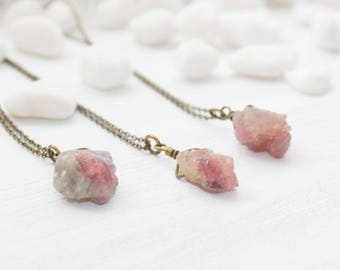 Raw Crystal Necklace, Pink Crystal Necklace, Raw Crystal Nugget Necklace, Pink Raw Crystal Necklace, Raw Crystal Jewelry, Layering Necklace
