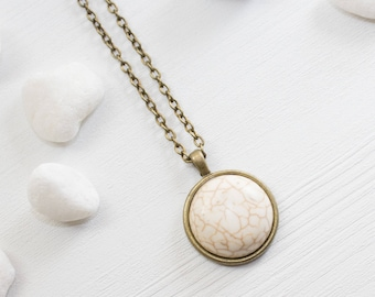 Howlite Stone Necklace, Howlite Necklace, White Gemstone Necklace, Howlite Jewelry, Marble Stone Necklace, Gemstone Jewelry, Stone Necklace