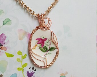 Broken China Pendant. Lovely pink fuscia.  Wire wrapped in rose gold.