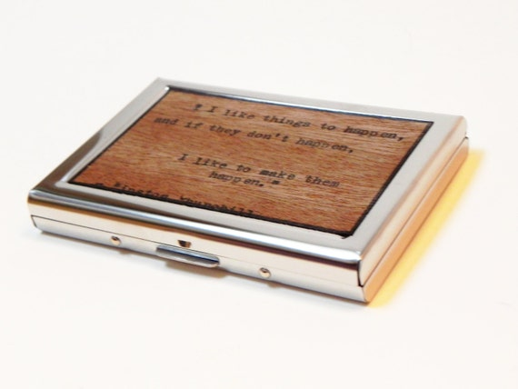 Card Wallet Typewritten Wood Winston Churchill Quote