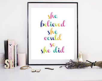 Motivational Art, Inspirational Print, She Believed She Could so She Did Print, Typography Art, Printable Art, Inspirational Art