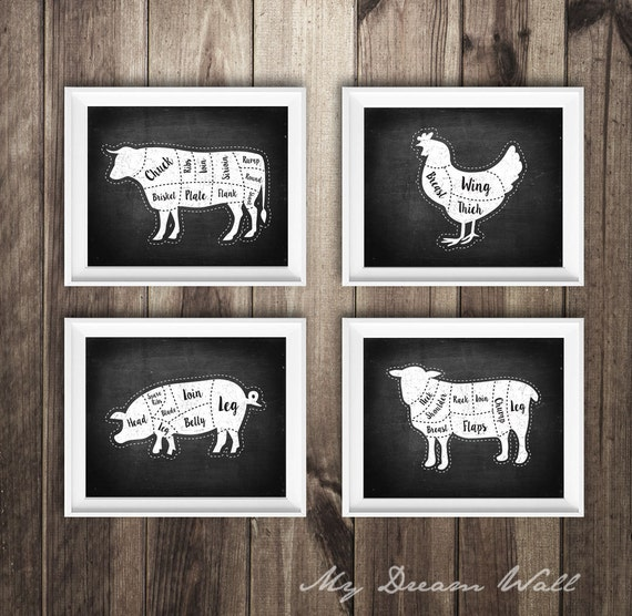 4 Metzger Diagramm Drucke Kuh Schwein Lamm Huhn Küche