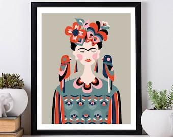 Woman print,Frida Kahlo Print,  mid century wall art inspirational art Wall Art Nursery Prints mid century Modern art nursery room