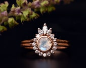 Round Moonstone & Pear Diamond Halo Wedding Ring Set in 14K Solid Gold, Half Halo Moonstone Ring with Stacking Crown Engagement Ring Set
