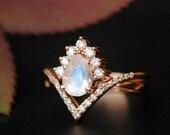 INTERLOCKING Pear Moonstone & Diamond Wedding Ring Set. 14K Gold Crossover Bridal Set. Chevron V Stack Band. Crown Alternate Engagement Ring