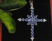 Cross Tanzanite Blue Necklace pendant, Big Christian Catholic Cross Necklace, Solid Gold and Diamond Cross Necklace