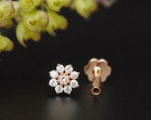 Genuine Diamond Nose Tragus Lobe Stud. 14K Gold Floral Cluster Pin. 16g External Threaded Pin. Dainty Flower Nostril Ear Piercing Jewelry