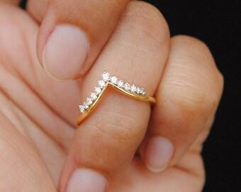 0bfa84ce8b007 Diamond chevron ring | Etsy