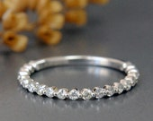 1.5 mm Two-Third Eternirty Diamond Band in 14K Gold , Two Prong Diamond Wedding Ring, Stackable Band
