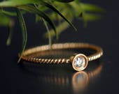 Small Baby Diamond Engagement Ring in 14K Gold Ring. Simple Bezel Diamond Ring with Twisted Wire Rope Band