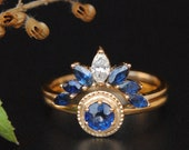 Natural Diamond Sapphire Wedding Ring Set, 14K Gold Sapphire Engagement Ring. Curved Bridal Stack Ring, Multi Gems Birthstone Heirlooms