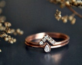 Wedding Ring Set. 14K Rose Gold Pear Baby Diamond Bridal Engagement Ring Set. Princess Diamond Chevron V Wedding Band. Diamond Wedding Set