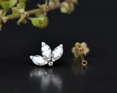 Diamond Lotus, Tragus Lobe Conch Cartilage Helix Piercing Stud, Solid 14k Gold & Marquise Diamond Flatback Pin