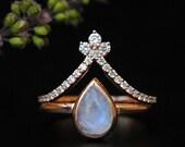 8x6mm Moonstone Engagement Ring Set. 14K Rose Gold Pear Moonstone Bridal Engagement Ring. Diamond Chevron V Wedding Band. Bridal Set