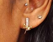 Asymmetric Dragonfly Diamond Earrings, Sterling Silver & Diamond Insect Jewelry Studs, Inexpensive Gifts