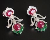 Ruby, Diamond and Emerald 14K Gold Chandelier Dangler Earrings. Indian Diamond Earrings, Indian Fine Jewelry, Bridal Statement Earrings
