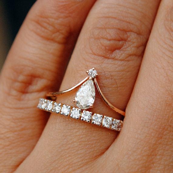 Diamond Wedding Ring Set Pear Shaped Diamond Bridal Etsy