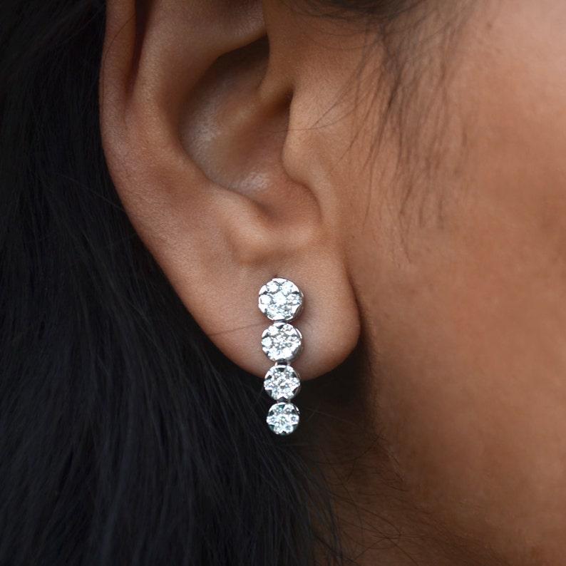 0aaffe67f0a7ce Bridal Earrings. Diamond Cluster Earrings. 18k White Gold   Etsy
