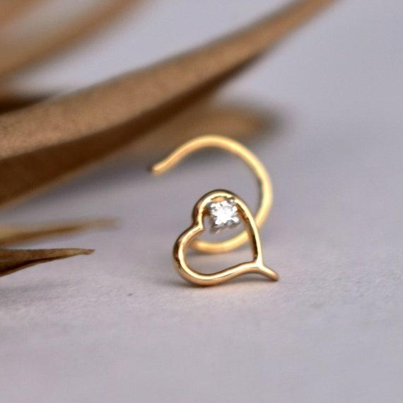 14k Yellow or White Gold Flat Heart Nose Stud Ring 20 Gauge