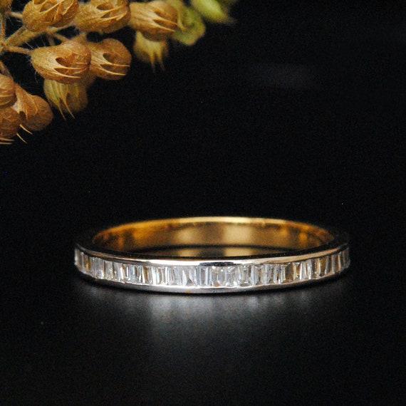 2eeae9caa3d Baguette Diamond Wedding Band. 14K Gold Stackable Natural