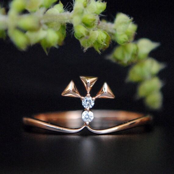 Diamond Triangle Ring  14k Diamond Triangle Stack Ring  Triangle Pave Round White Diamonds  Engagement Ring  Birthday Gift  Bridal Gift