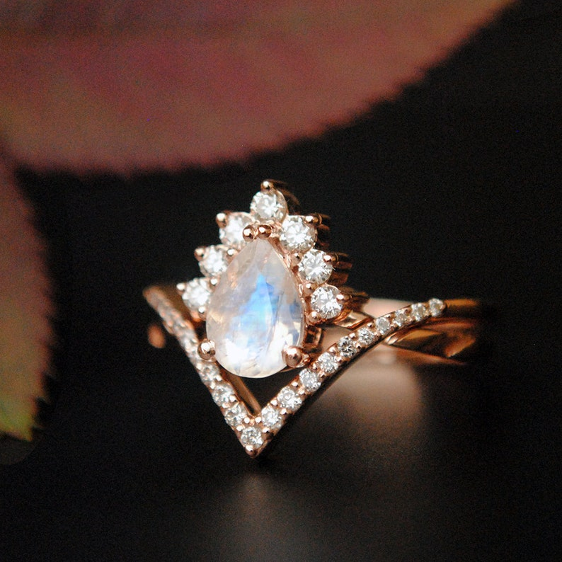 2150722bdc5c3 7x5 mm Pear Moonstone & Diamond Wedding Ring Set. 14K Rose Gold Crossover  Bridal Set. Chevron V Band. Crown Halo Alternate Engagement Ring