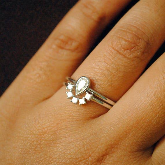 Pear Diamond Wedding Ring Set 14k White Gold Solitaire Bridal Etsy