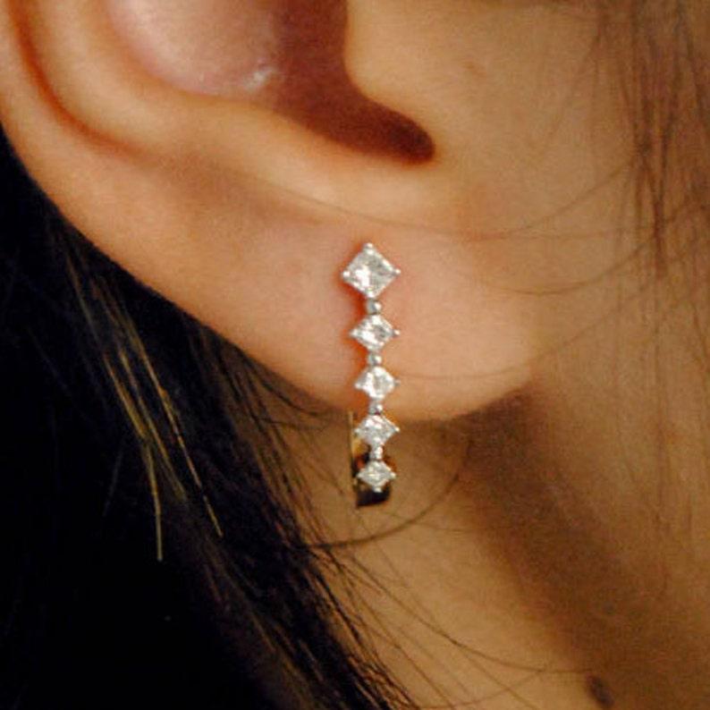 3878b5bbab144 Diamond Huggie Earrings. Small loops. Real Princess cut Square