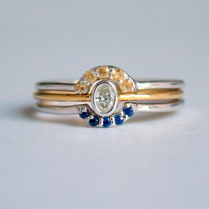 dd458e544fcc7 Oval Engagement Ring Set. Two Tone Oval Diamond Ring. 3pc Wedding Ring Set.  14K Gold. Gemstone Stack Rings. Blue Sapphire Ring. Garnet