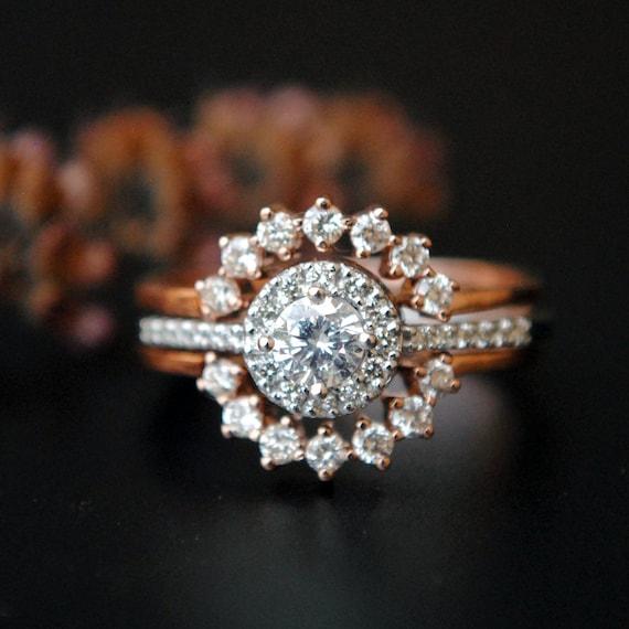 Diamond Engagement Ring With Ring Enhancer Set Wedding Ring Etsy