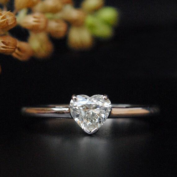 Herz Diamant Ring Herz Geformte Solitar Verlobungsring 14k Etsy