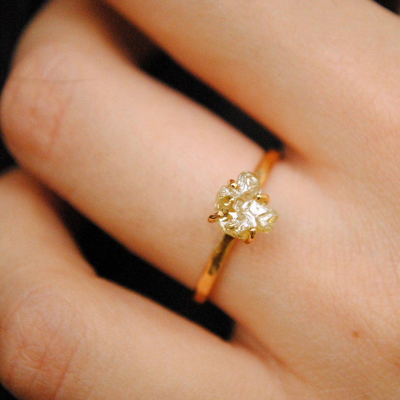 6616cfa9bf5b5 1.5 Carat Yellow Diamond Engagement Ring. 14K Gold Claw Set Raw Fancy  Yellow Diamond Hammered Band Unique Promise Ring. Stack Solitaire Ring