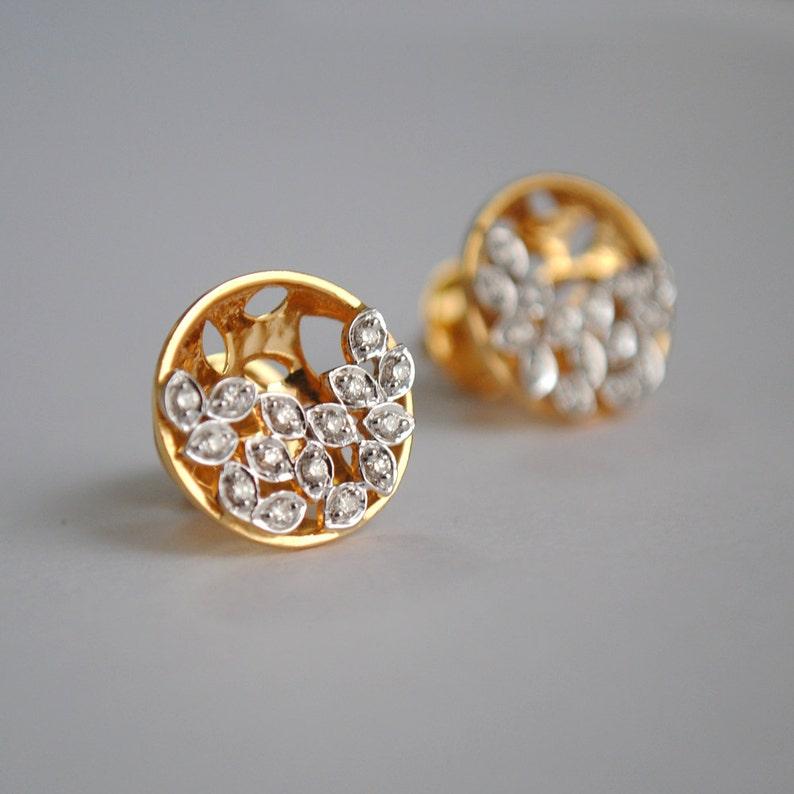 40067f51eb8c5 Diamond Earrings. Small Concave Circle Studs. 14K Gold Diamond 3D Studs.  Crescent Moon. Diamond Leaf Earring. Screw Back. Bridal Studs