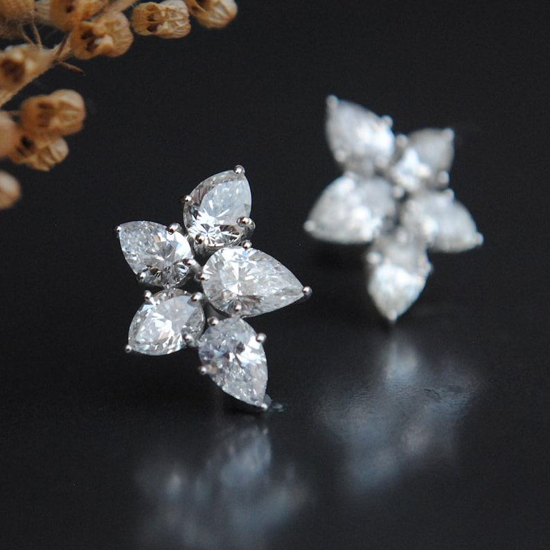 c2ebf333f901e 3 CT Pear Cut Diamond Cluster Earrings, 14K Solid White Gold Fine Bridal  Earrings, Tear Drop Asymmetric Cluster Ear Studs, Wedding Jewelry