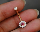 Natural Diamond and Ruby Belly Button Ring 14K Solid Gold, Floral Gold Belly Button Jewelry, Floating Navel Bar, Gifts for Her