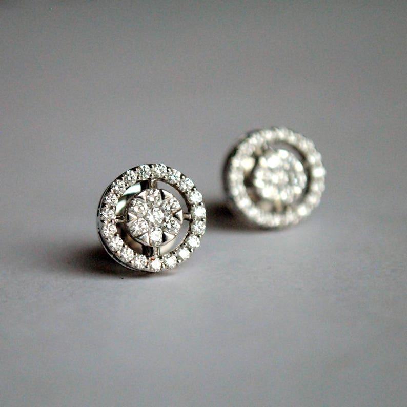 6b2e7b89c75324 Diamond Stud Earrings. Bridal Earrings. Halo Diamond Studs.   Etsy