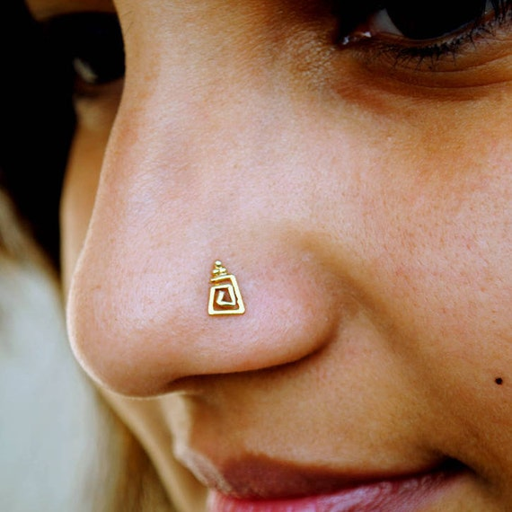 08b44e4859def Gold Nose Stud. Trapezium Spiral Nose Pin. Indian Nose Ring. 14K Gold Wire  Nostril Jewelry. Ear, Cartilage, Helix, Tragus Geometric Earring