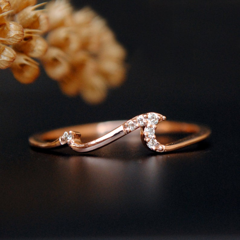 67ccd884c6319 Diamond Wave Ring. 14K Rose Gold Ocean Tide Current Band. Wave Surfer Ring.  Surf Ring. Dainty Wave Stack Ring. 2 Wave Ring. Ocean Lover Gift