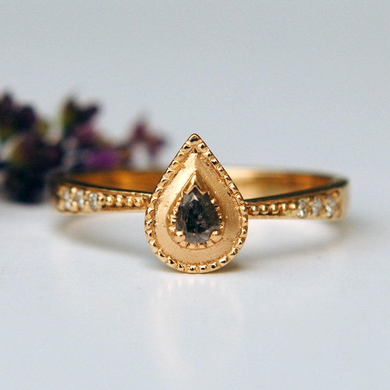 Grayish Brown Pear Diamond Ring in 14K Yellow Gold Unique image 0