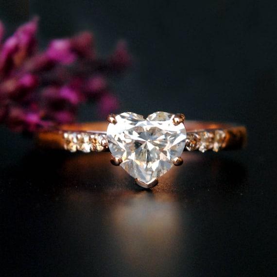 1 Karat Diamant Verlobungsring Herz Diamant Ring 14k Rose Etsy
