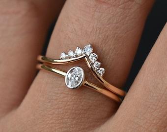 Oval Diamond Engagement Ring with Diamond Tiara Band, Chevron V Wishbone Stack Ring Set in Solid 14K Gold, Bridal Diamond Ring Set
