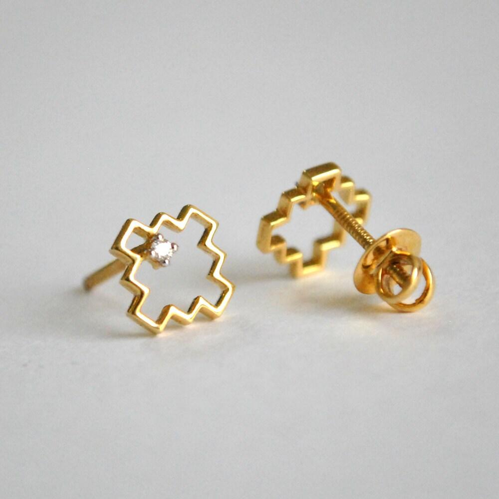 d83efa582fa07 Tiny Stud Earrings. Geometric 14K Yellow Gold Diamond Earrings. Small  Screwback Top. Square Single Diamond Studs. Jewelry for Her. Christmas