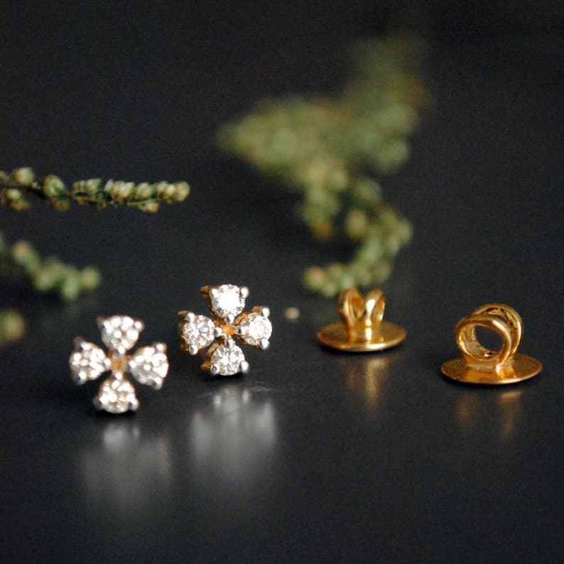 f0192f6f24 Diamond Bridal Earring. Tiny Studs. Small 4 Diamond Earrings. | Etsy