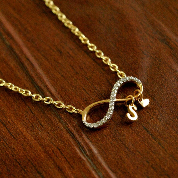 df9677a4bdb3c Infinity Initial Necklace. Custom Initial Heart 14K Gold & Diamond.  Personalized Couple Necklace, Valentines Gift, Best friend Necklace