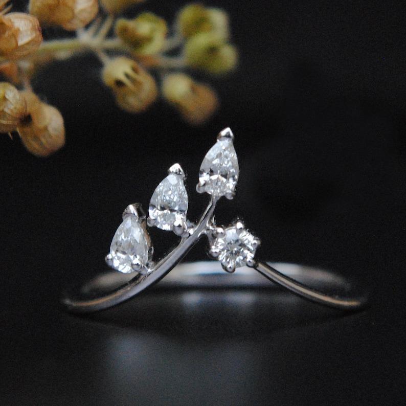 9c5a5d3427c9c Chevron Leaf Ring. Pear Diamond Leaf V Ring. 14K Gold Diamond Bridal  Wedding Band. Stackable V Wedding Band. Stack Rings. Leaf Band