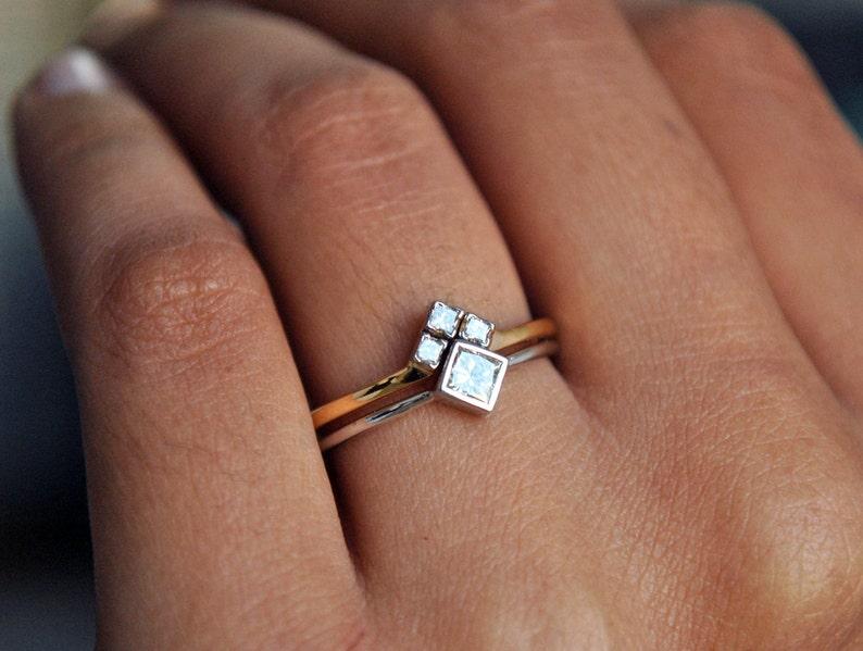 ab79c9df441 Wedding Ring Set. 14k White   Yellow Gold Princess Cut Diamond