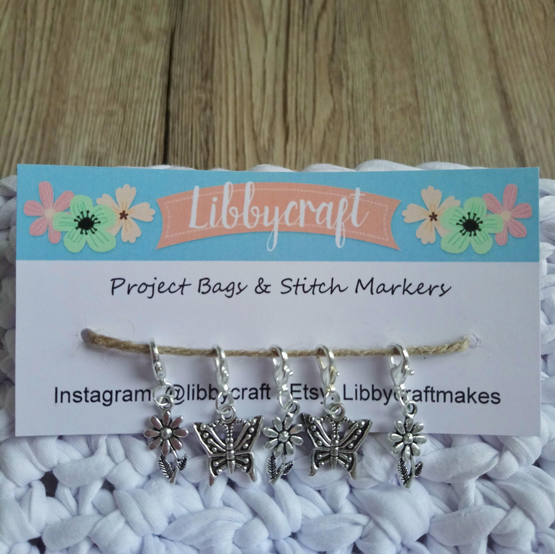BUTTERFLY STITCH MARKER BAG CHARM SET Knitting Crochet Gift