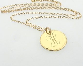 Disc monogram necklace gold initial engraved large pendant etsy script initial pendant necklace in 14k gold filled small letter charm monogram initial necklace id necklace letter engraved gold pendant aloadofball Gallery