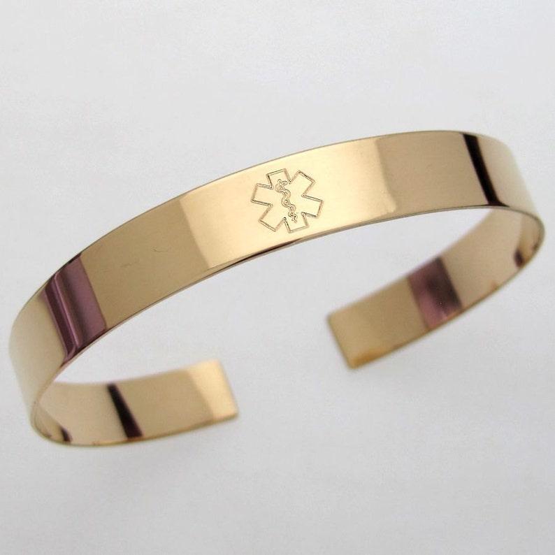0f3b2e573e8b Gold ID Medical Cuff Bracelet Custom Medical Alert Bracelet Hidden Message  Engraved Personalized Medical ID Jewelry Allergy Alert Diabetic